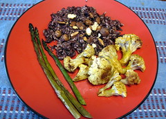 Roasted Cauliflower, Asparagus and Wild Rice
