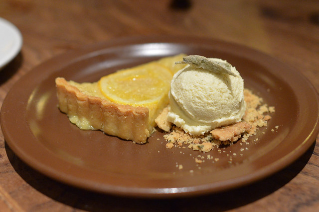 Shaker Meyer Lemon Tart Brown Butter Ice Cream and Candied Sage