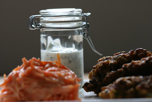 cauliflower fritters, spicy carrot salad & lime sauce by the james kitchen