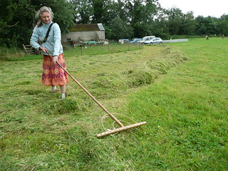 Handmade wooden hay rake