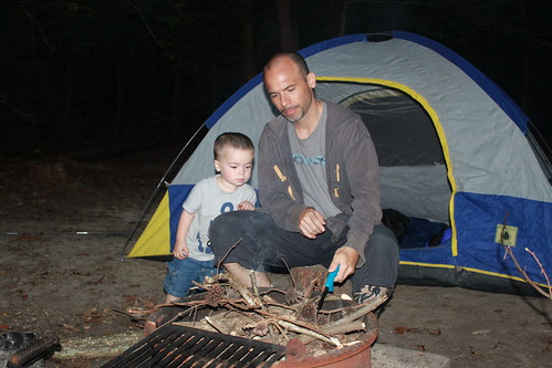 Camping at Prince William Forest Park - Sagan Helps Daddy With Fire