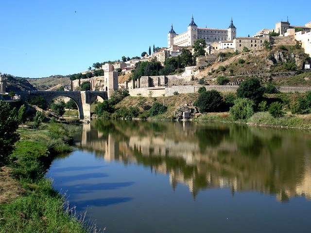 Toledo from the river - cathedral Alcazar, Spain