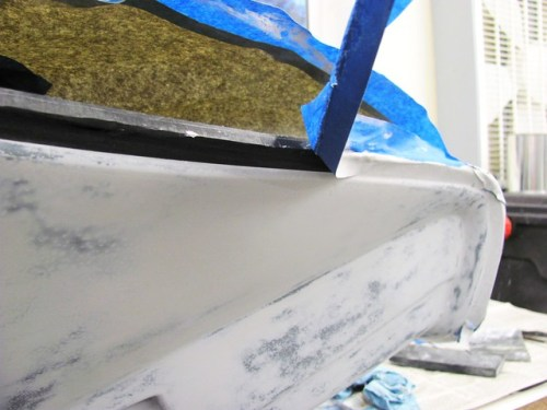 Pulling Masking Tape Off The Fairing with Primer Coats