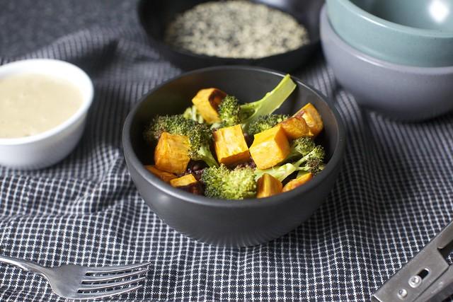 piling on the sweet potatoes + broccoli