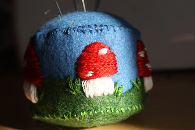 Merry mushroom pincushion
