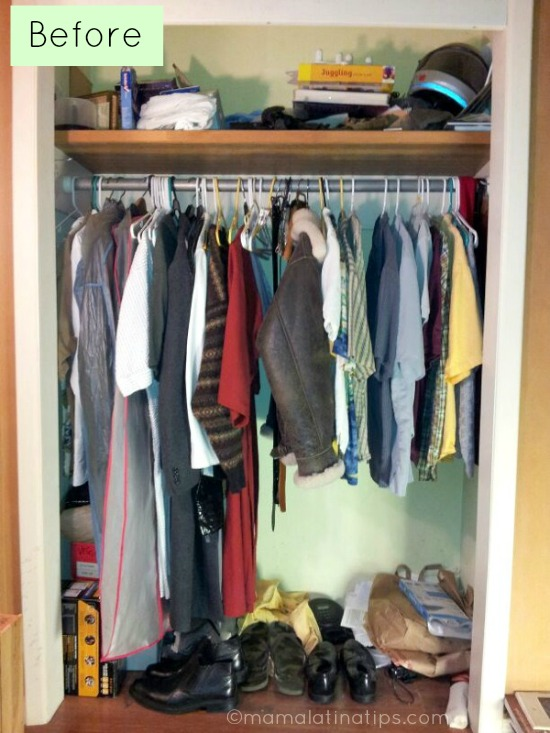 Messy closet with clothes and shoes
