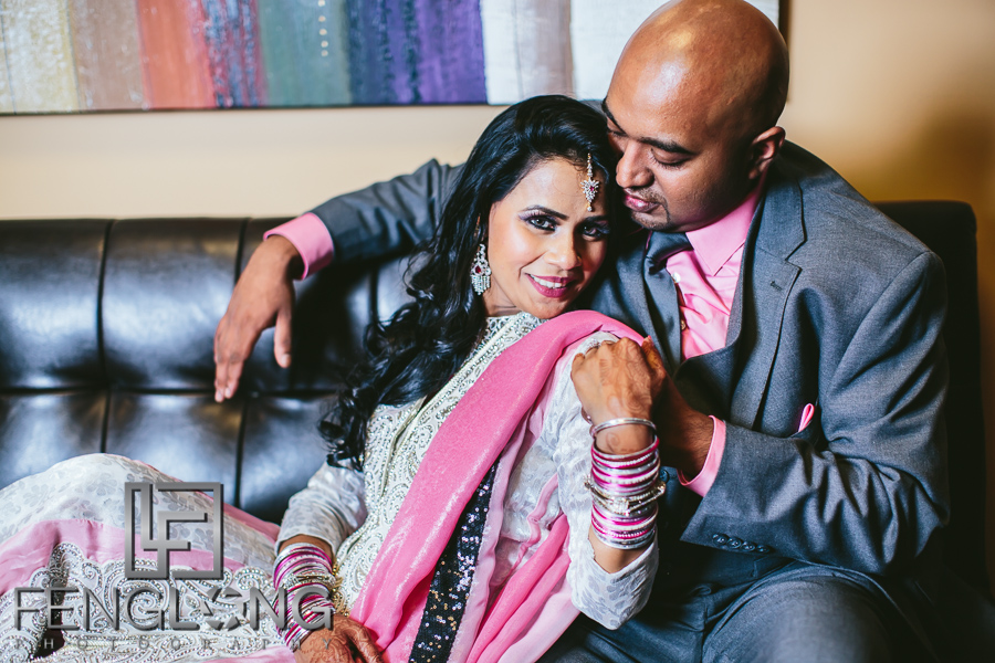 Bride and groom portraits at Muslim engagement ceremony
