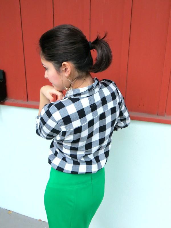 Gold Polka Dots - green skirt and plaid shirt 5