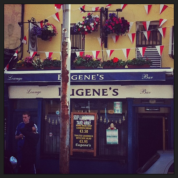 Up the rebels, is say these banners, flags and strands of bunting at Eugene's on Shandon in #Cork