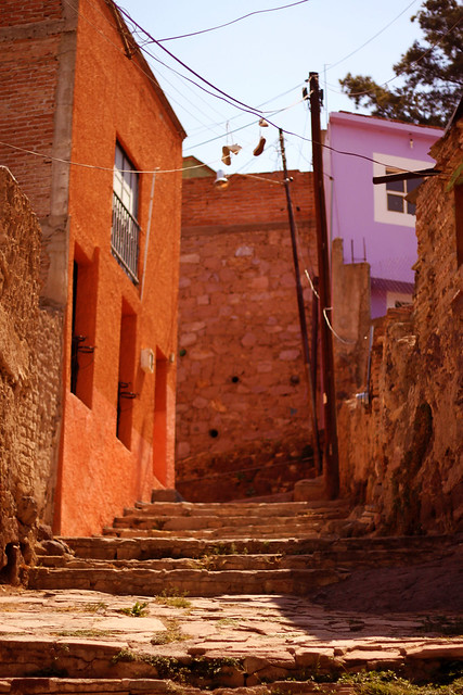 Image: a steep alley staircase, with pastel houses on either side.