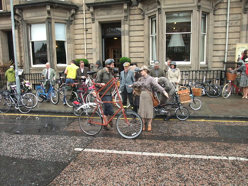 The first Edinburgh Harris Tweed Ride gathering outside Bonham Hotel
