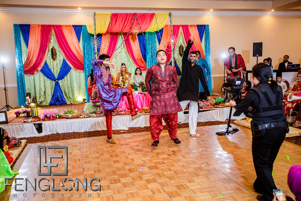 Bride comes to dance floor for performance