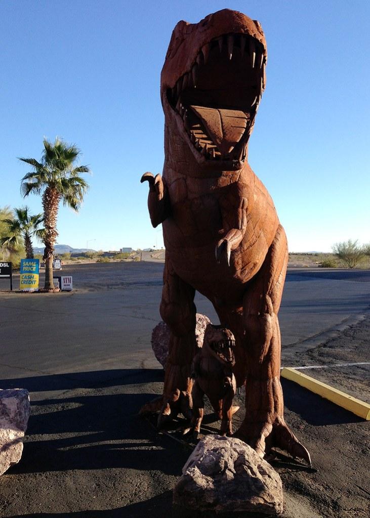 Dinosaur at a Gas Station
