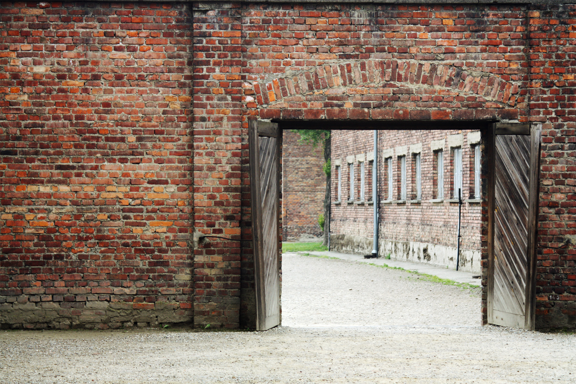 Gates to a courtyard used for executions, Auschwitz I.
