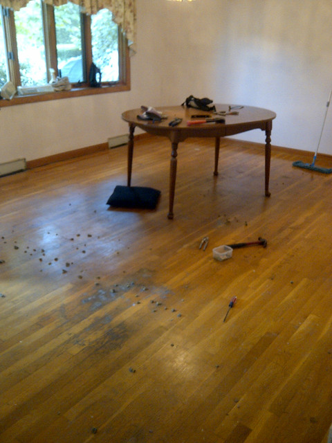 dining room floor - before