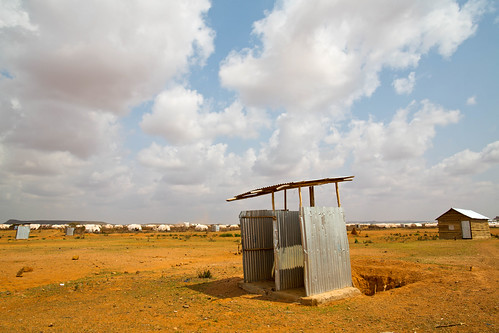 A latrine stands alone in the expanded area of Kobe refugee camp in Dolo Ado refugee camp