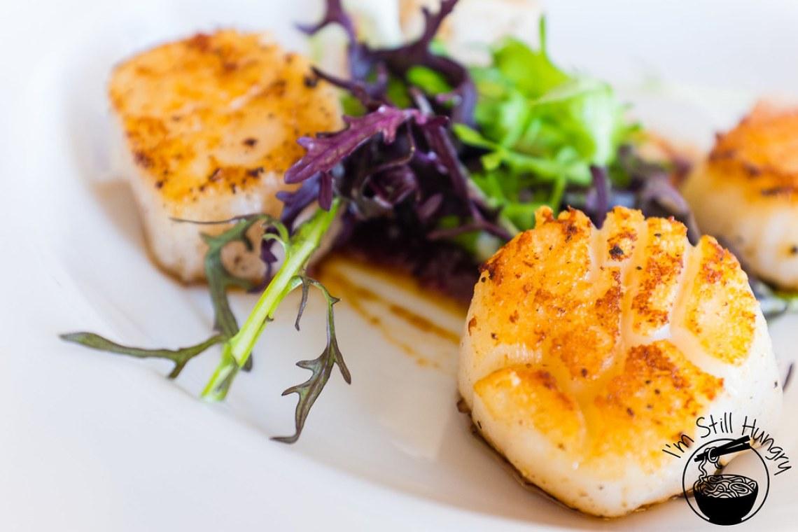 Seared scallops w/chilli sambal flanagan's dining room