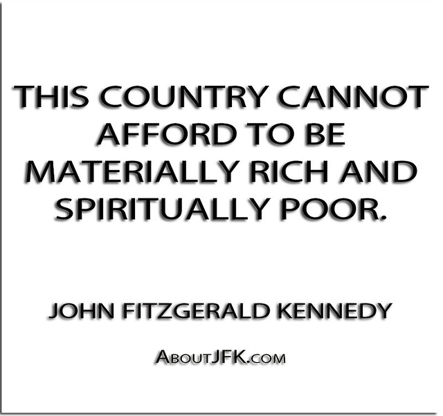 ''This country cannot afford to be materially rich and
