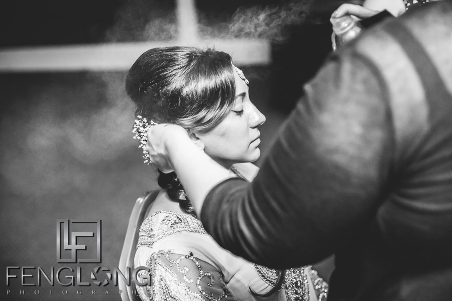 Bride gets makeup before Pithi