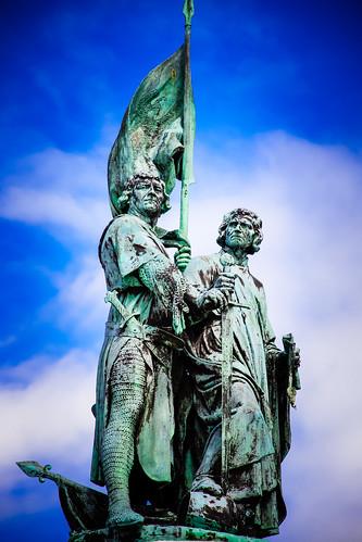 Statue Guarding Markt Square in Bruges