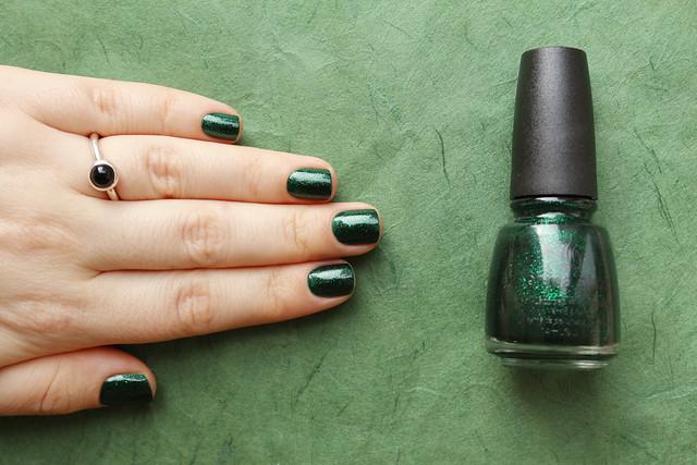 07 China Glaze Emerald Sparkle swatches