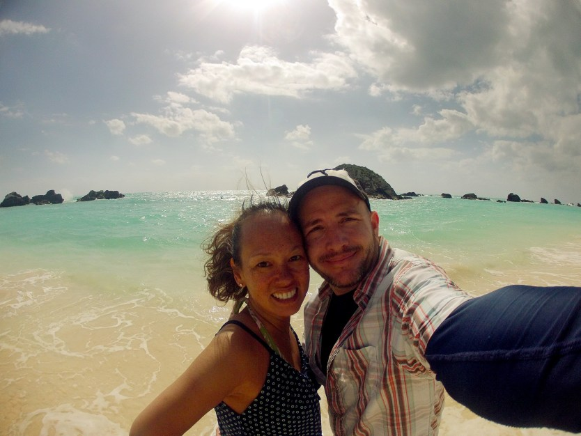 A selfie on the beach in Bermuda.