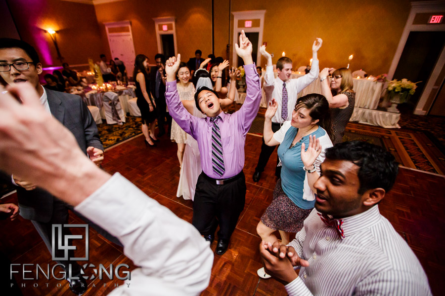 Guests dance during wedding reception at Chateau Elan