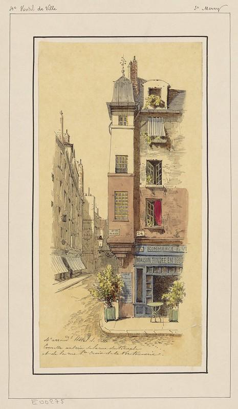Tourelle au coin de la rue du Temple et de la rue Ste Croix de la Bretonnerie (1800s)