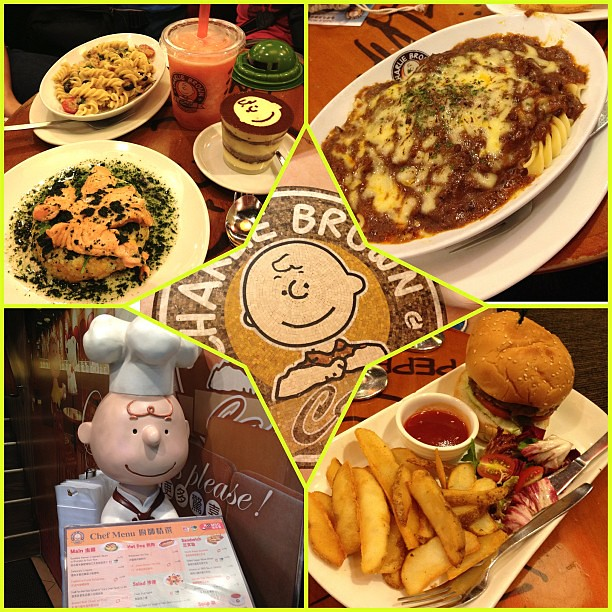 Dinner at the Charlie Brown Café.