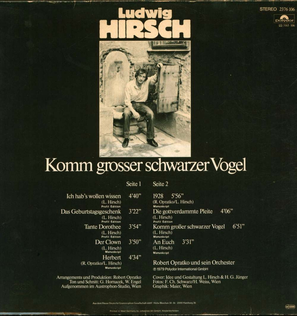 Ludwig Hirsch, Komm großer schwarzer Vogel, 1979, LP-Rückseite