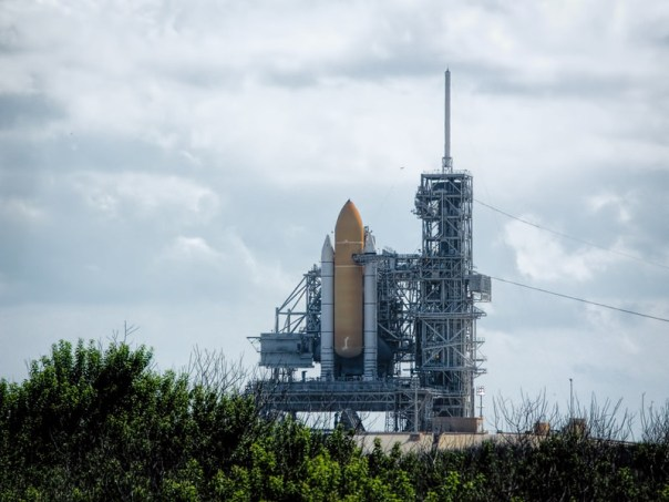 Space Shuttle Atlantis on the pad in October 2009 prior to the STS 129 mission