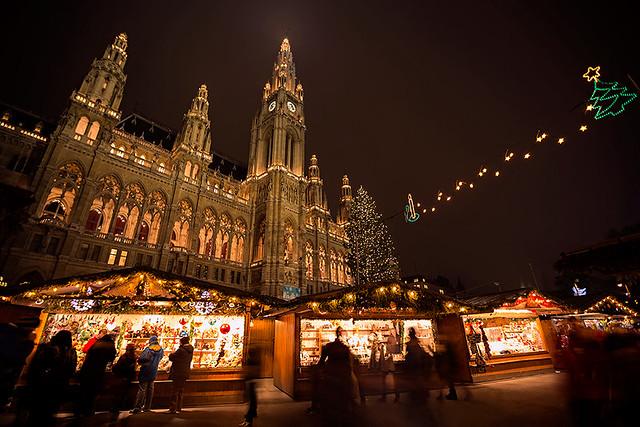 Christmas market infront of Rathaus in Vienna, Austria.