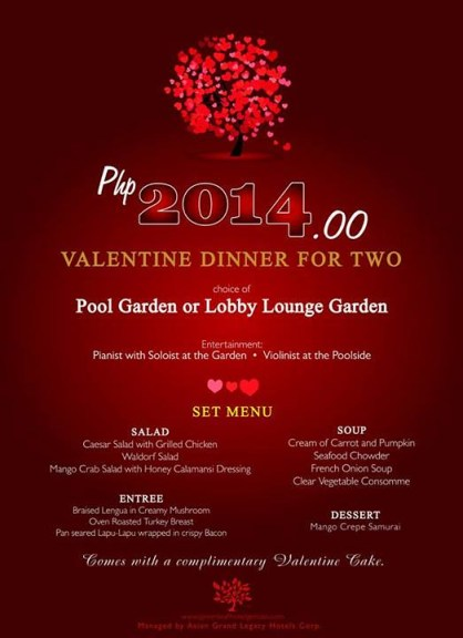 GREENLEAF HOTEL, VALENTINES DINNER