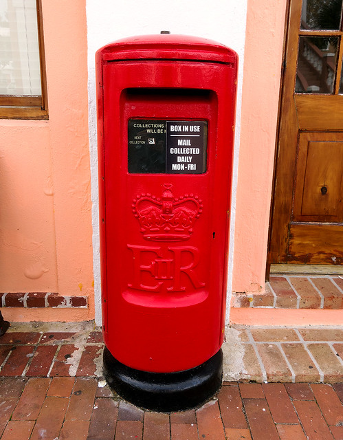 Classic red mail box.