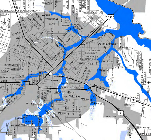 Drainage from Mary Street to Satilla River (flood map)