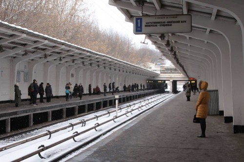 Ground level station on the Moscow Metro at Фили (Fili)