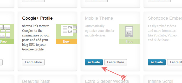 Turning on a mobile theme in a WordPress blog or website