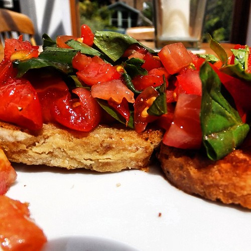 Scrumptious lunch of tomato bruschetta. Love those @Riverford tomatoes. #omnomnom