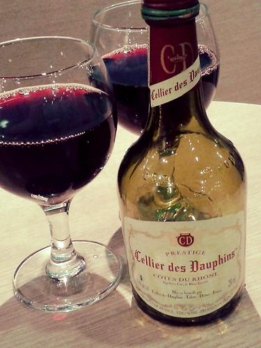 Celebratory wine on the ferry
