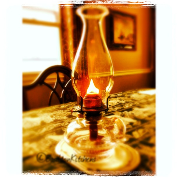 June 1 - fire {It's thunder storm season. I'm testing my antique oil lamp. Just in case} #TitleFx #photoaday #fire #flame #oillamp #depressionglass