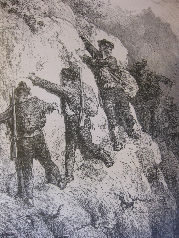 Contrabandistas. Guasavo Doré (1832-1883). Grabado