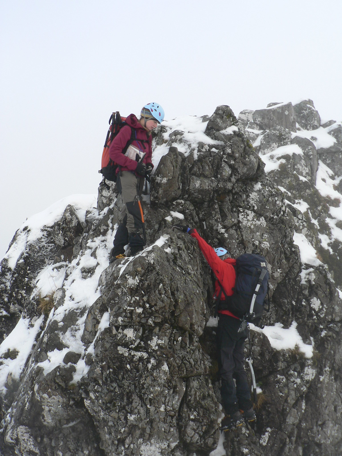 The hardest parts of the ridge were probably the down climbs (as demonstrated nicely by Lorna here!).