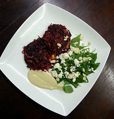Beetroot rosti with feta and tahini-lemon dressing