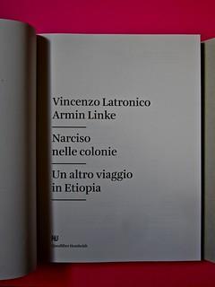 Vincenzo Latromico, Armin Linke, Narciso nelle colonie. Quodlibet Humboldt 2013. Progetto grafico di Pupilla Graphic. Frontespizio (part.)