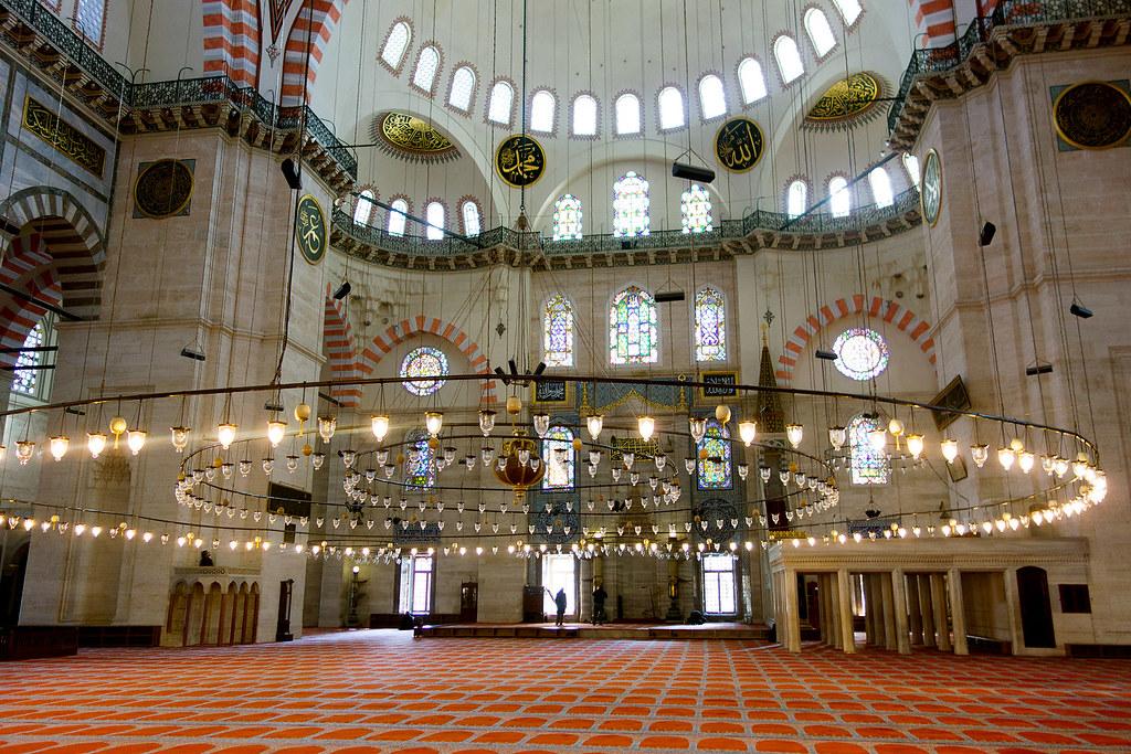 Inside the Süleymaniye Mosque, Istanbul.