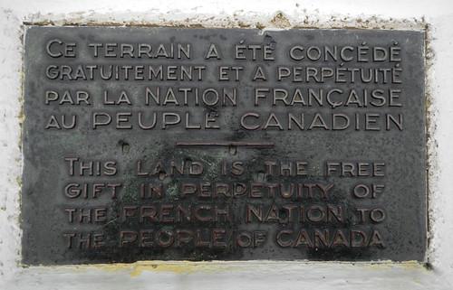 Plaque at Vimy Ridge
