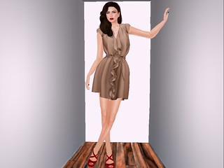 Collabor88 Ison - Ruffle Dress in Tan