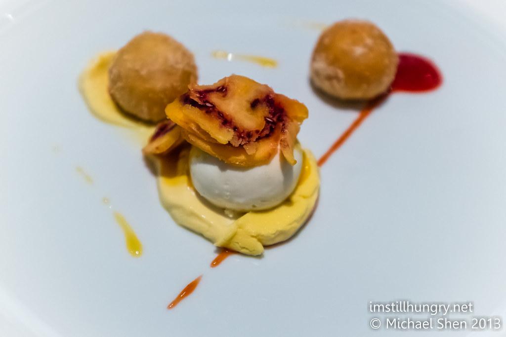Foveaux dessert Tamarillo doughnuts, orange miso custard, brazil nut praline, white chocolate & coffee gelato
