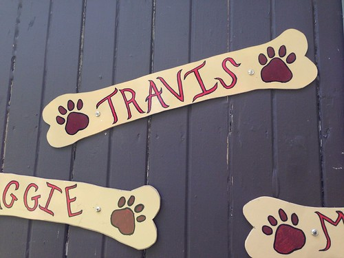 Travis now has his name at the dog park!