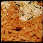 Once #SundayGravy is mixed in, add the #Ricotta mixture.